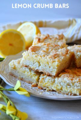 lemon crumble bars sitting on white plate