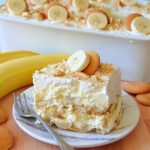 a square slice of banana pudding on a plate