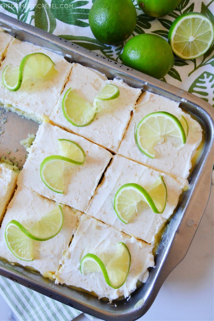 key lime pie poke cake slices arranged in a pan