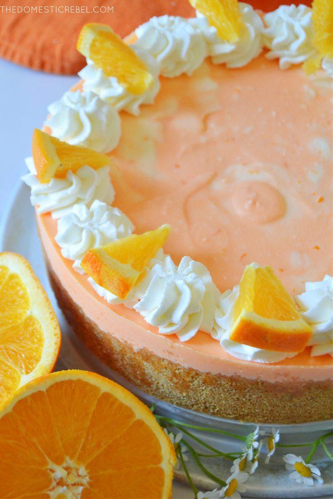orange creamsicle cheesecake with orange rounds