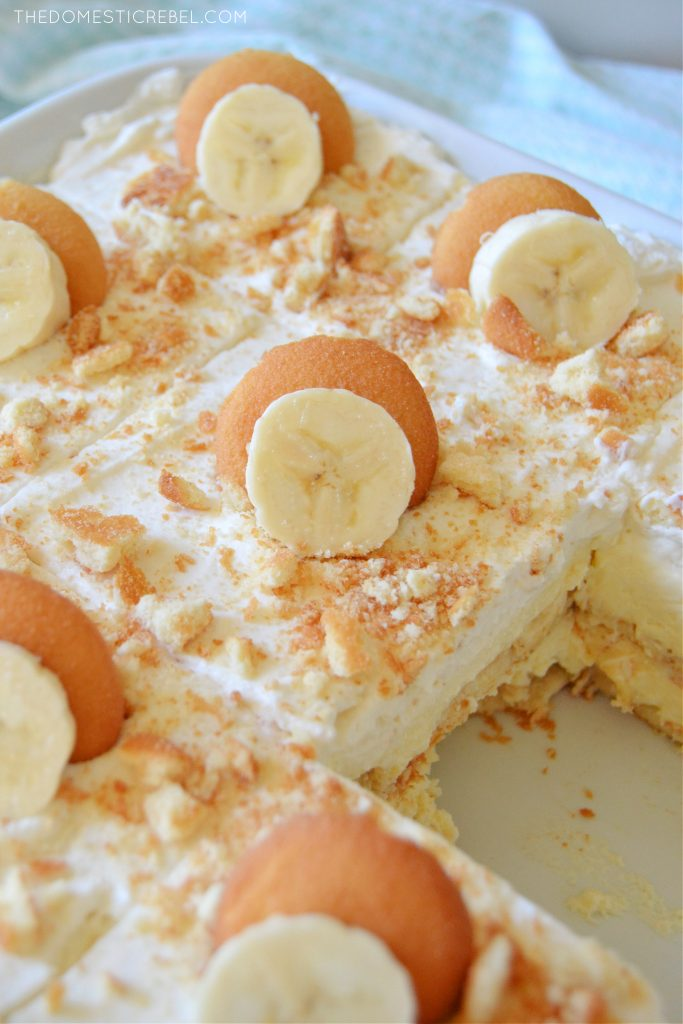 banana pudding in a white dish