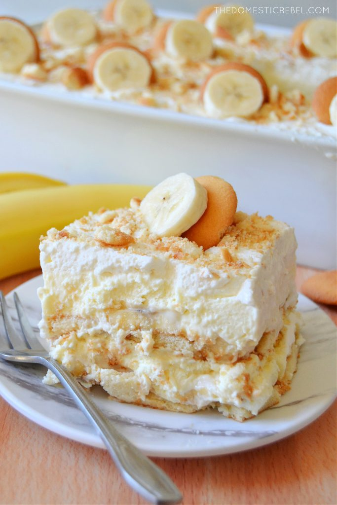 a slice of banana pudding on a plate with a fork