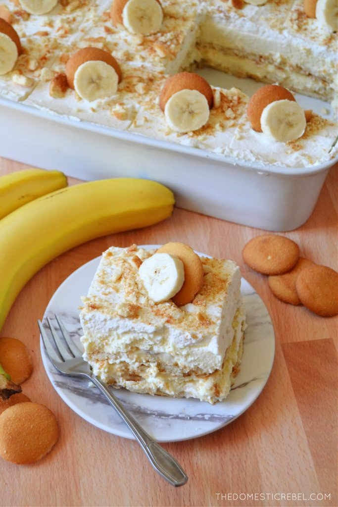 banana pudding on a plate with bananas and cookies