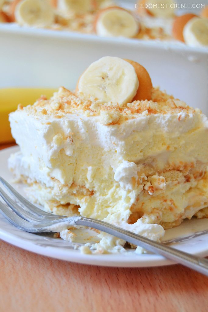 closeup of a slice of banana pudding with a bite missing