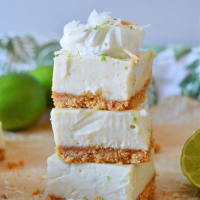 a stack of three key lime pie bars