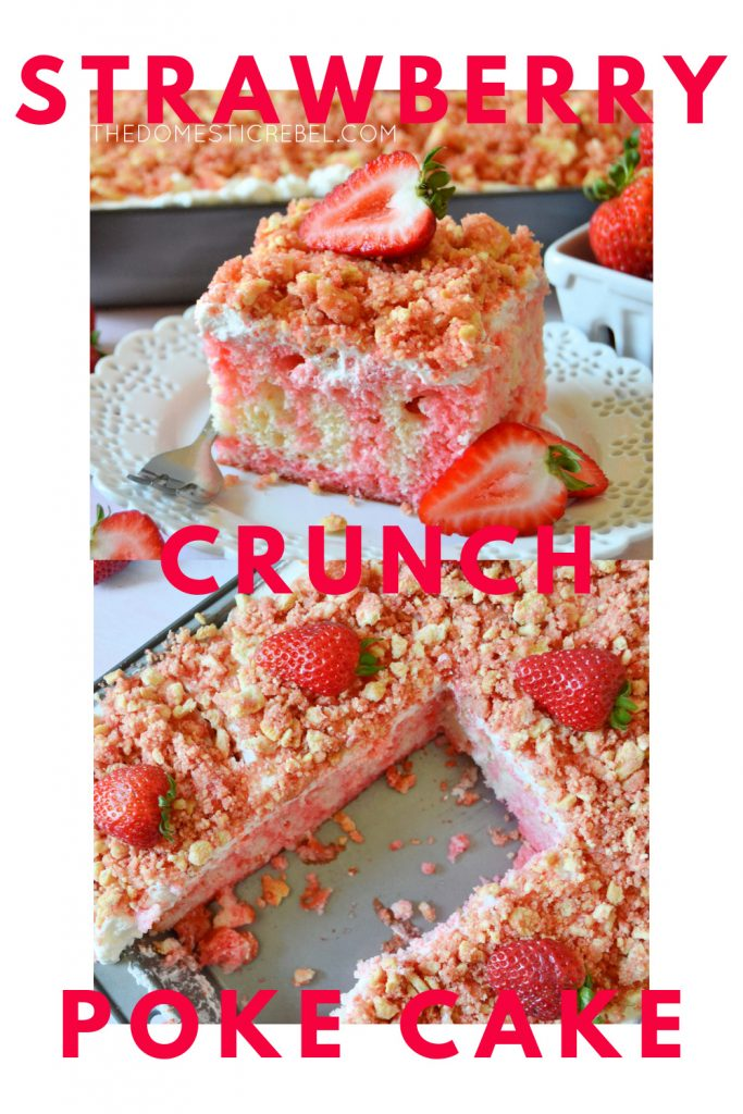 strawberry crunch poke cake photo collage