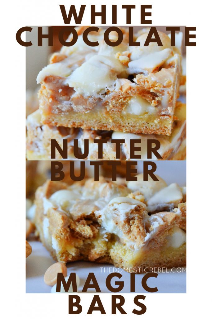 white chocolate nutter butter magic bars photo collage