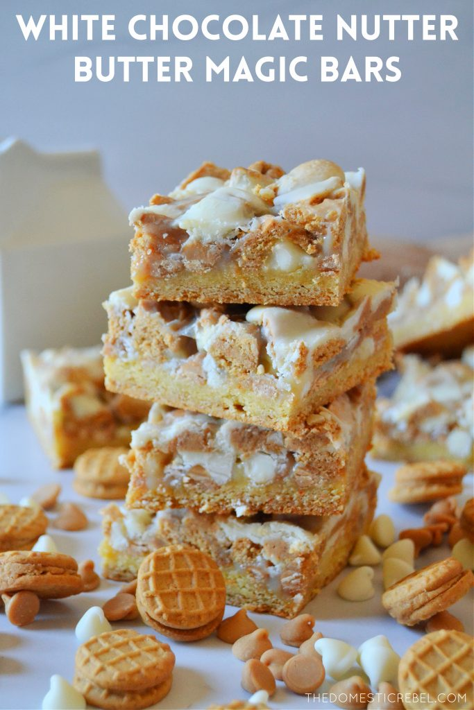 four high stacked white choc nutter butter magic bars