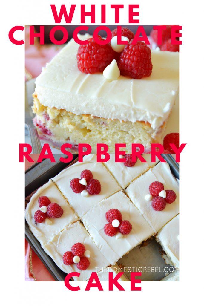 white chocolate raspberry cake photo collage