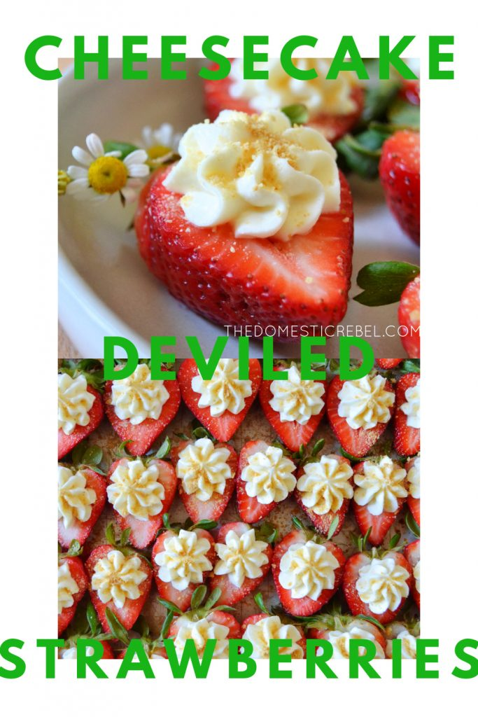 cheesecake deviled strawberries photo collage