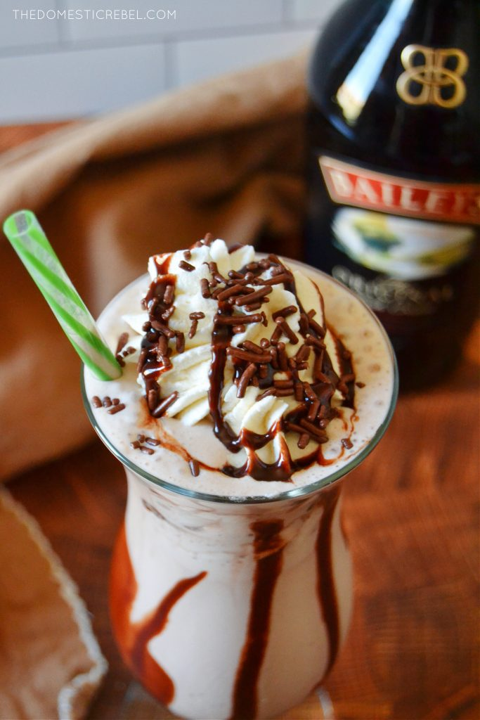 closeup of frozen hot chocolate with baileys