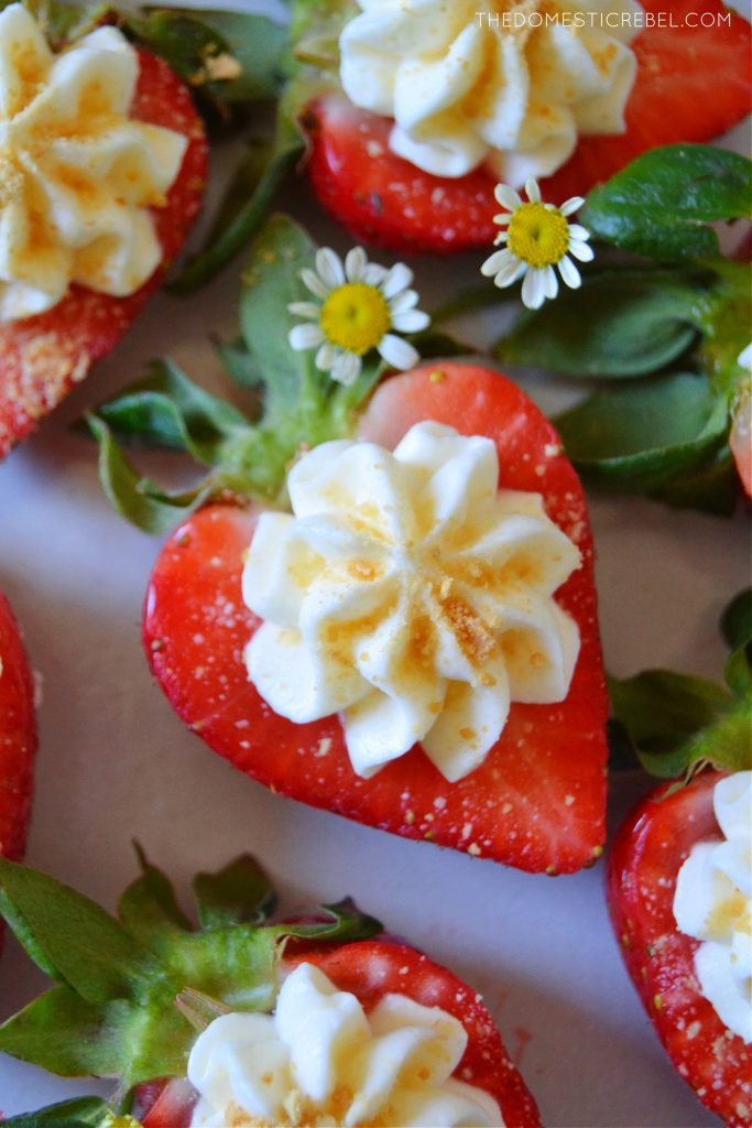 closeup shot of a cheesecake deviled strawberry with little daisies