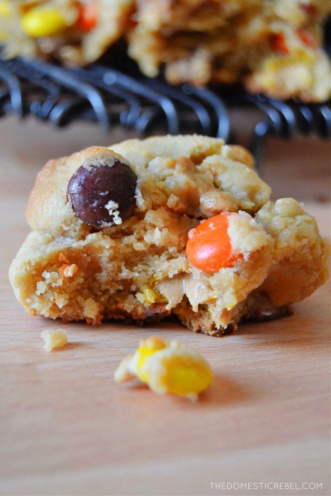 closeup of a piece of levain style peanut butter cookie