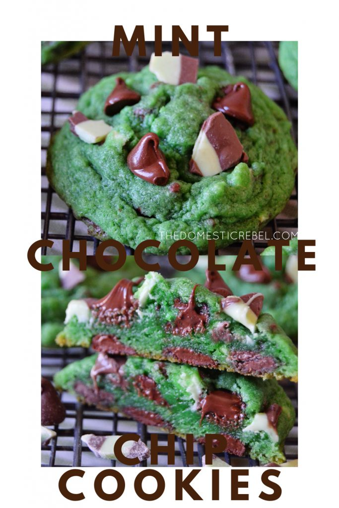 mint chocolate chip cookies photo collage