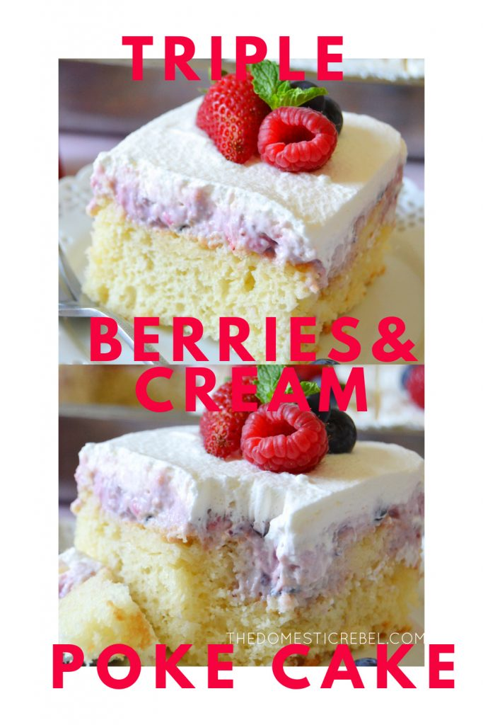 triple berries and cream poke cake photo collage