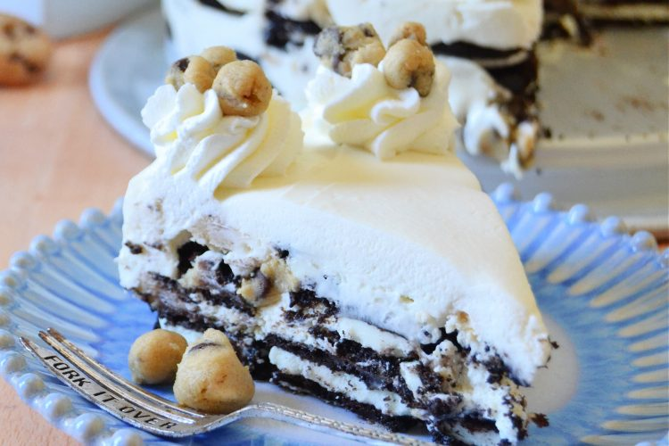 Chocolate Chip Cookie Dough Oreo Icebox Cake