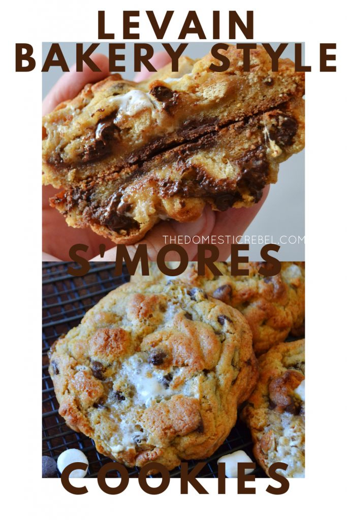 levain bakery-style s'mores cookies photo collage