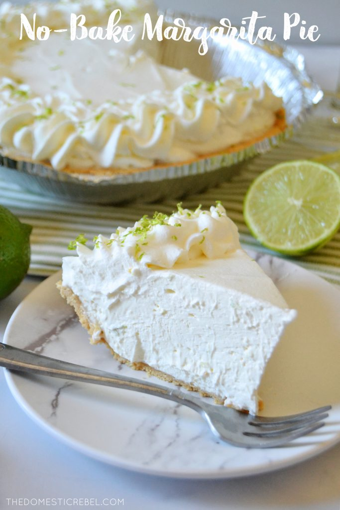 a slice of margarita no bake pie on a white plate with a silver fork and limes