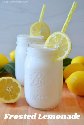 frosted lemonade in a glass jar with a lemon wheel