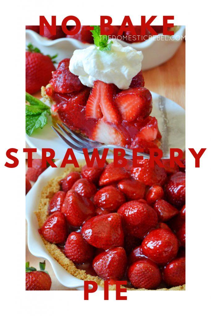 no-bake strawberry pie photo collage