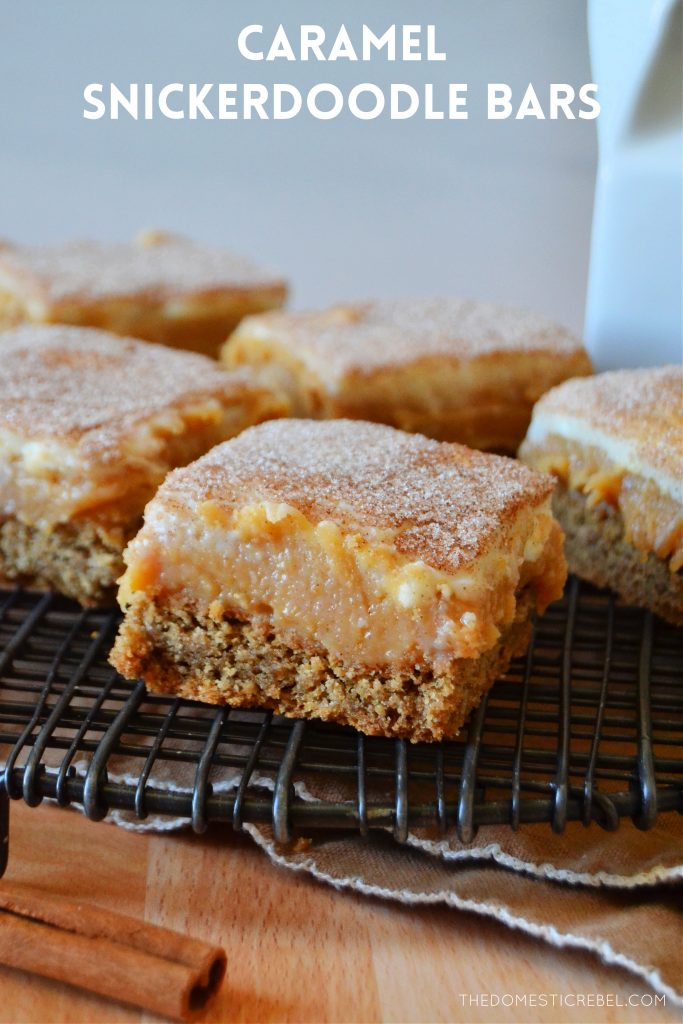 caramel snickerdoodle bars arranged on a wire rack