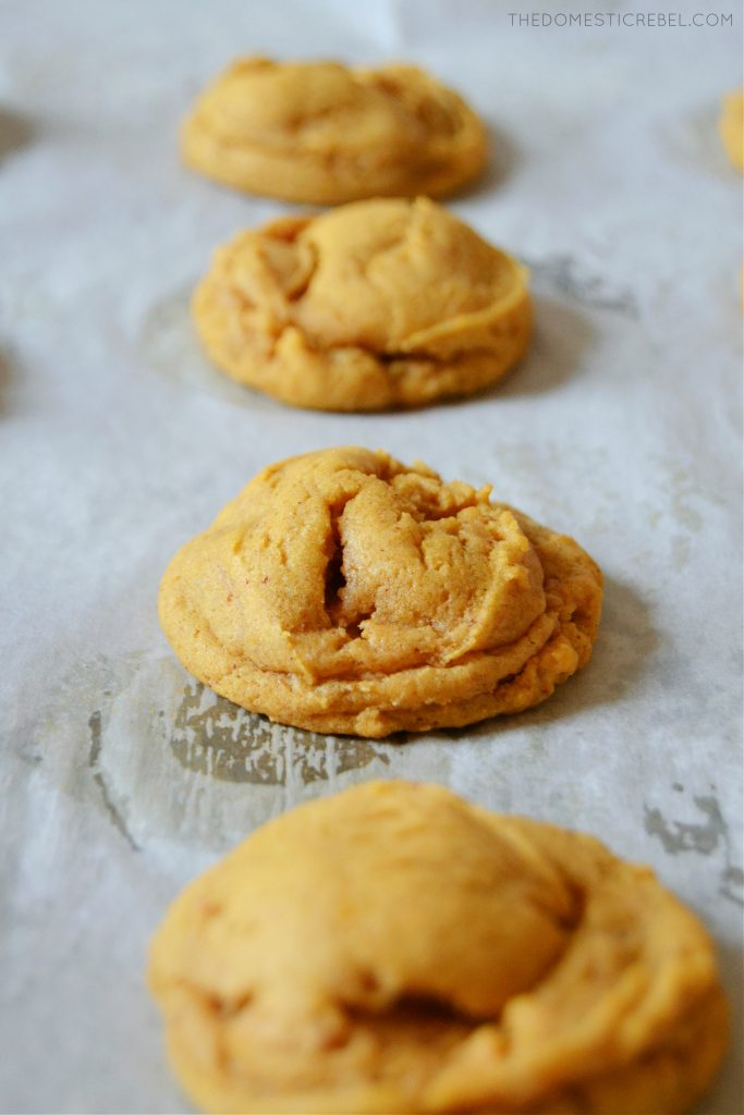 a row of four brown butter pumpkin spice cookies