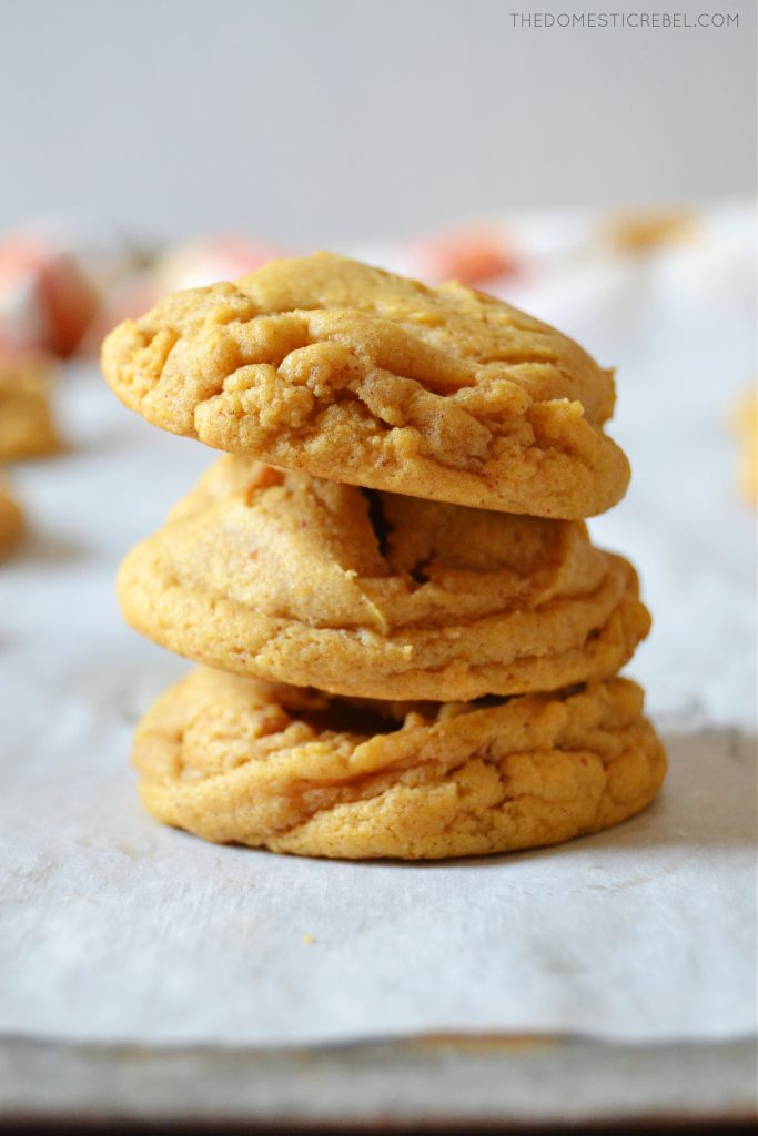 a trio stack of pumpkin spice brown butter cookies