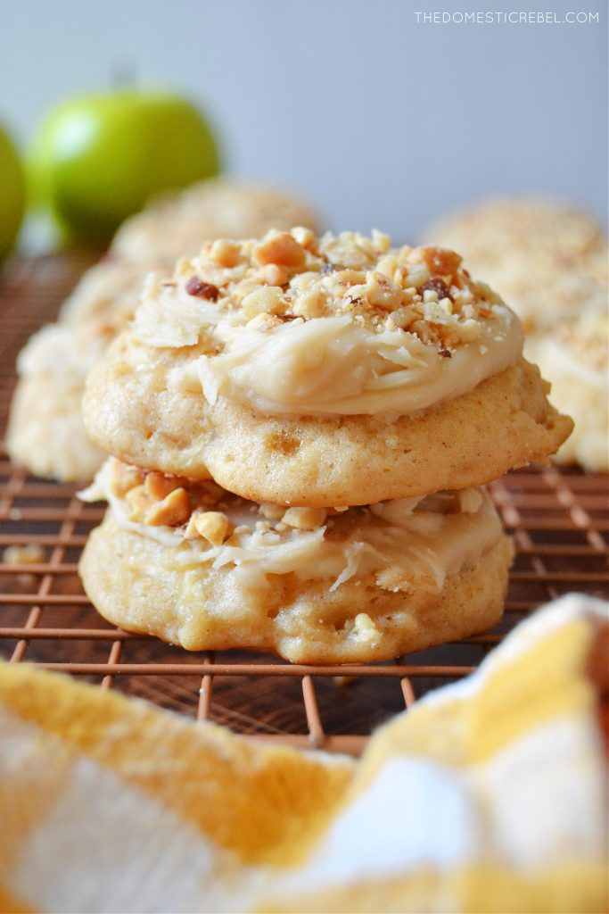 a two stack of caramel apple cookies on a wire rack