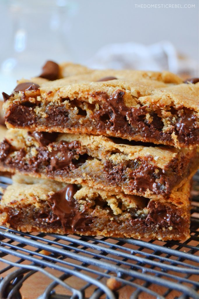 a closeup photo of a stack of chocolate chip cookie bars