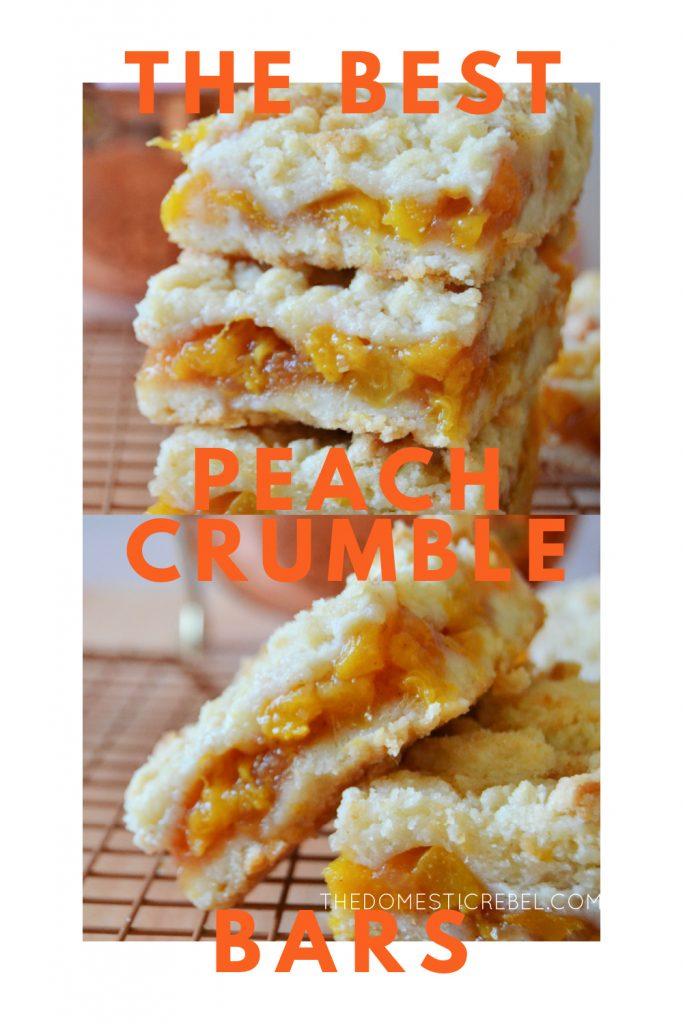 peach crumble bars photo collage