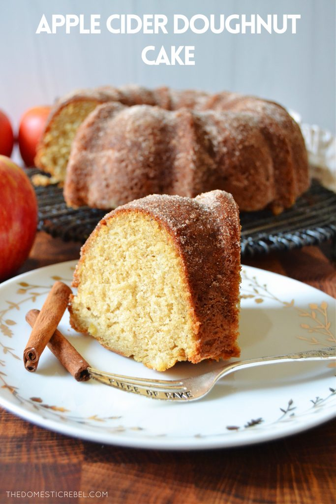 a piece of apple cider doughnut cake on a white fall plate with cinnamon sticks and a fork