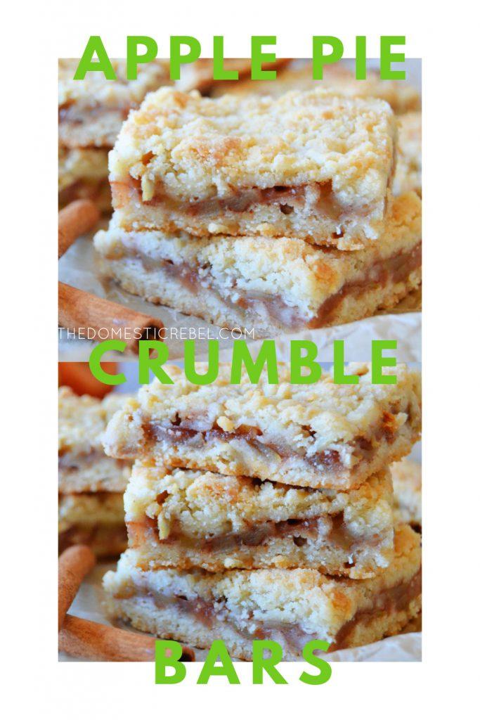apple pie crumble bars photo collage