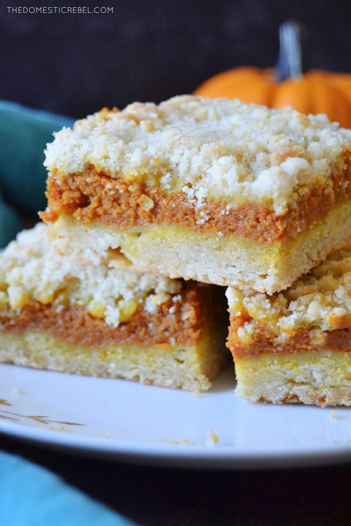 a closeup stack of pumpkin pie crumble bars