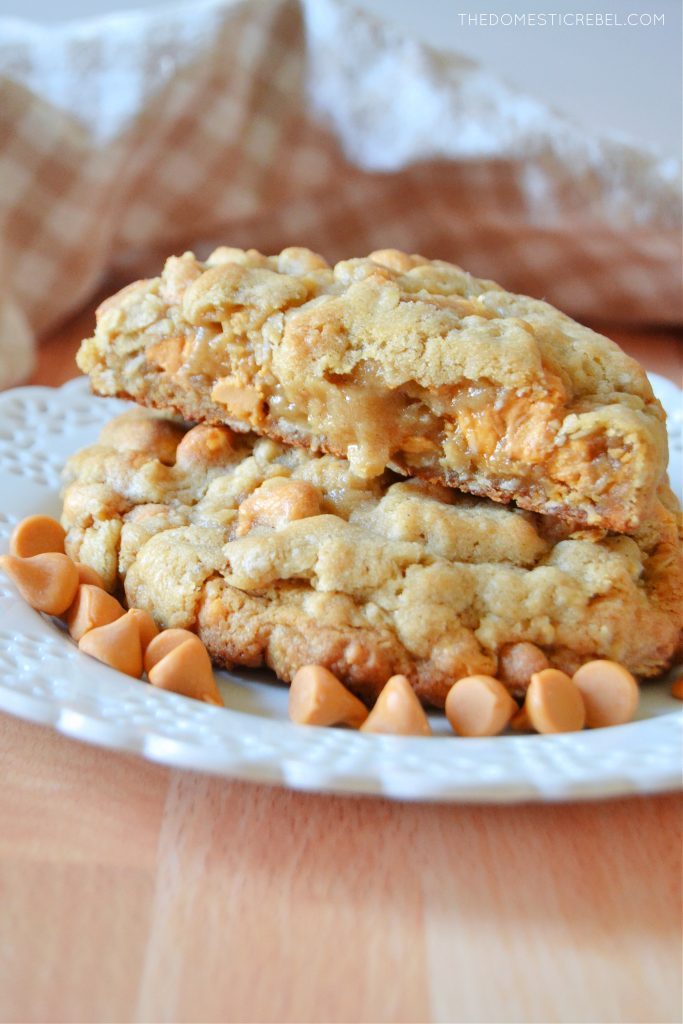 a plateful of oatmeal scotchie cookies surrounded by butterscotch chips