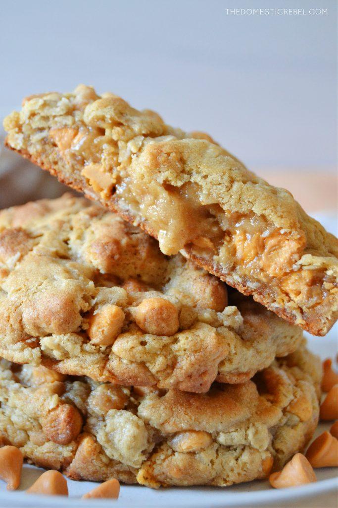 a closeup of a split open oatmeal scotchie cookie