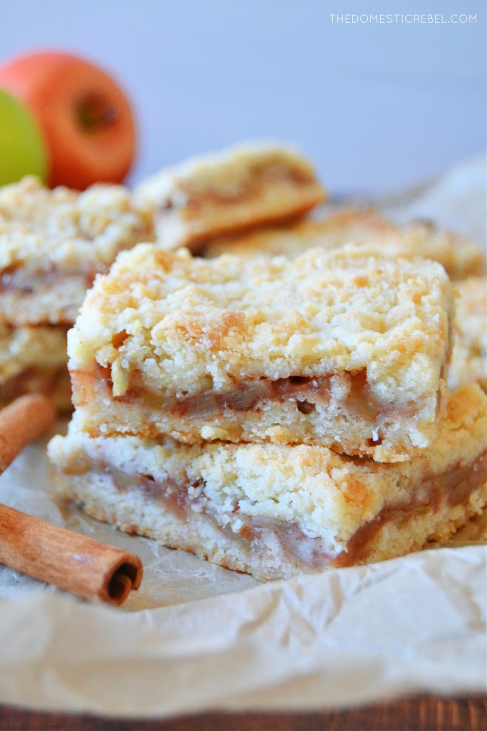 a double stack of apple pie crumble bars