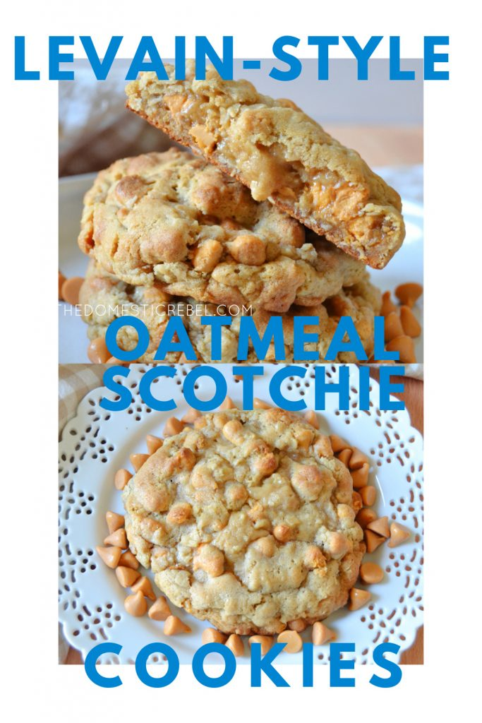 levain style oatmeal scotchie cookies photo collage