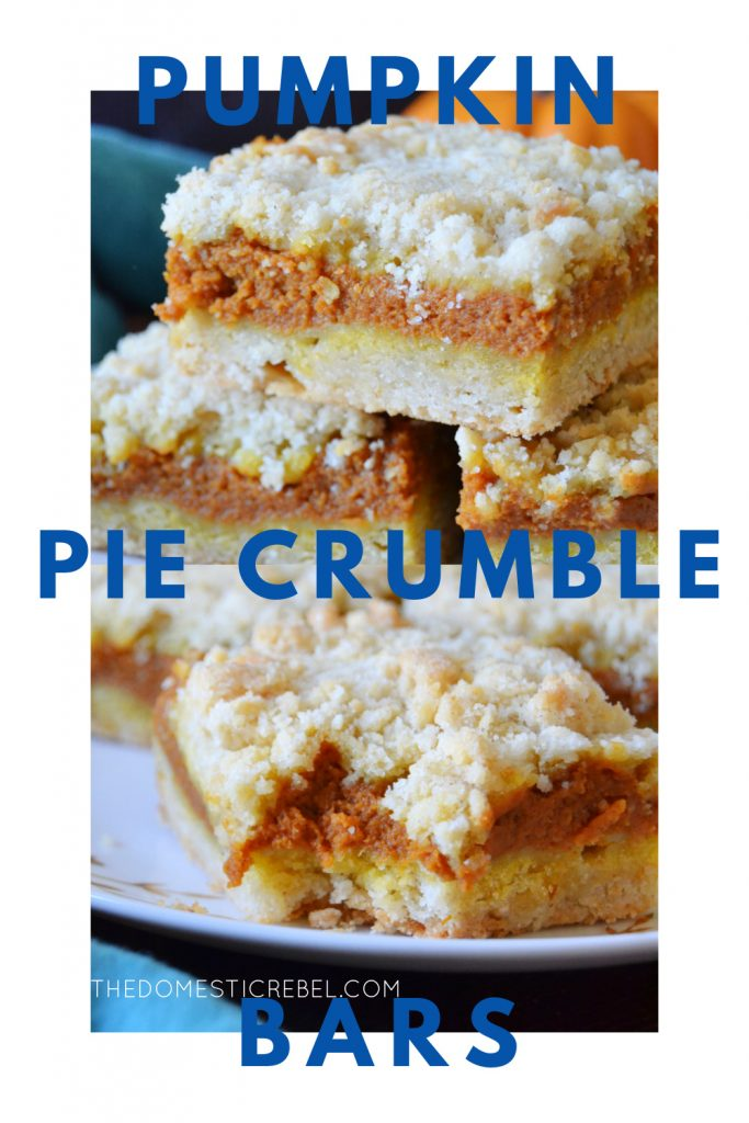 pumpkin pie crumble bars photo collage
