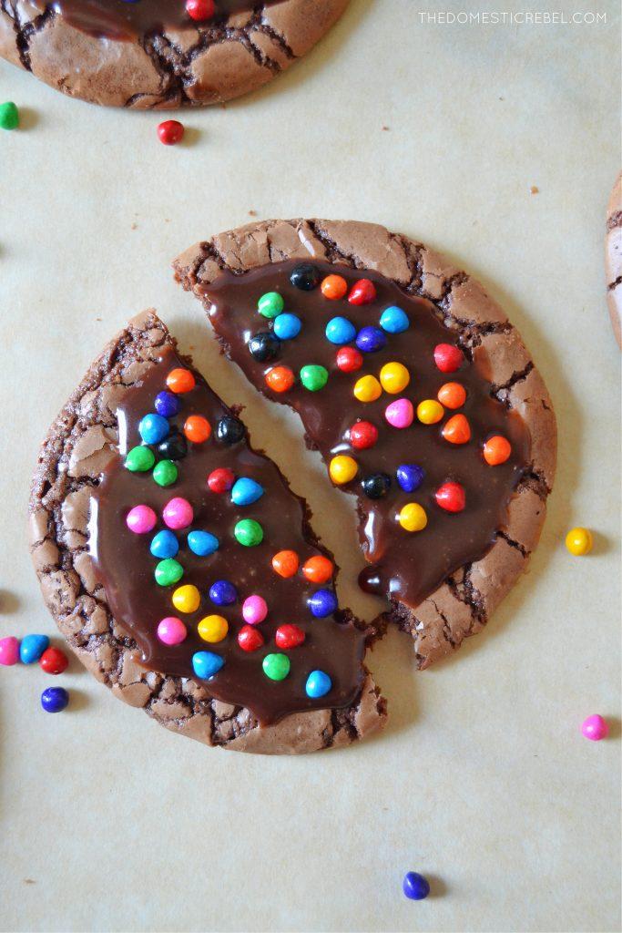 a cosmic brownie cookie broken open