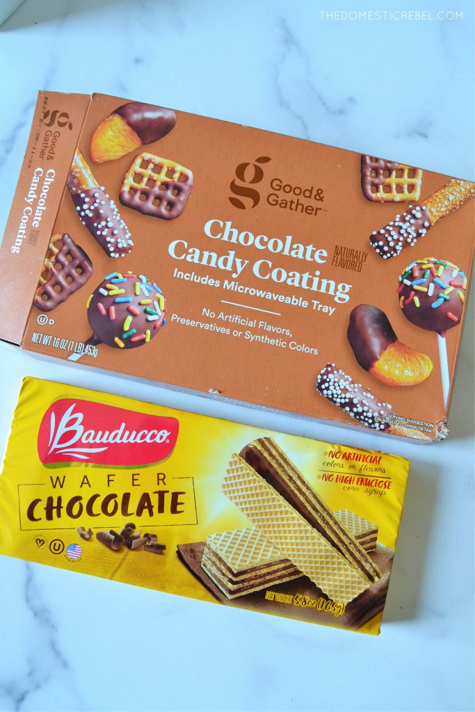 a photo of chocolate candy coating and wafer cookies